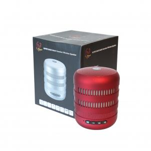 Portable USB Radio Bluethooth Speaker with LED lights and foldable metal handle In Red