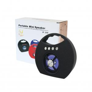 Portable USB FM Radio Bluethooth Speaker Music Player with lights and handle In Black