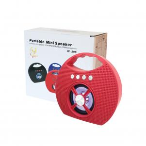 Portable USB FM Radio Bluethooth Speaker Music Player with lights and handle In Red