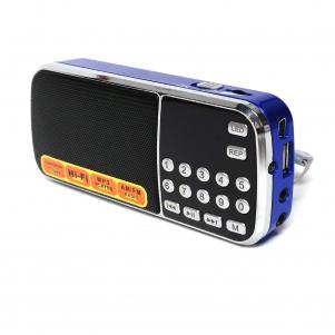 Portable USB FM Radio Speaker Music Player with LED flashlight, small and compact In Blue