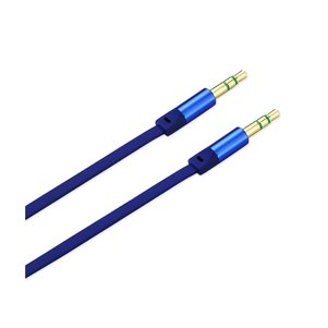 REIKO STEREO MALE TO MALE FLAT AUDIO CABLE 3.2FT IN BLUE