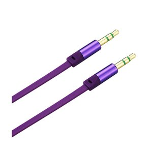 REIKO STEREO MALE TO MALE FLAT AUDIO CABLE 3.2FT IN PURPLE
