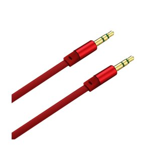 REIKO STEREO MALE TO MALE FLAT AUDIO CABLE 3.2FT IN RED