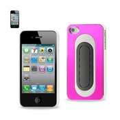 REIKO IPHONE 4/4S ALUMINUM CASE WITH BEND BACK KICKSTAND IN HOT PINK WHITE
