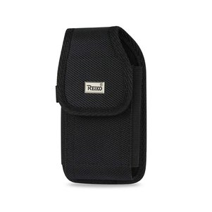 REIKO VERTICAL RUGGED MEDIAN SIZE POUCH WITH BUCKLE CLIP IN BLACK (3.5X2.05X1.1 INCHES)