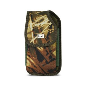 REIKO VERTICAL RUGGED POUCH SAMSUNG MEGA WITH BUCKLE CLIP IN CAMOUFLAGE (7X3.86X0.71 INCHES PLUS)