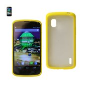REIKO LG NEXUS 4 FRAME BUMPER CLEAR BACK CASE IN YELLOW