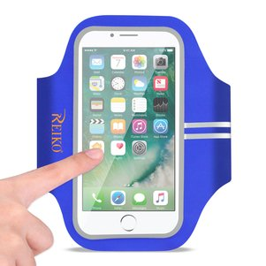 REIKO RUNNING SPORTS ARMBAND FOR IPHONE 7/ 6/ 6S OR 5 INCHES DEVICE IN BLUE (5x5 INCHES)