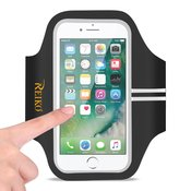 REIKO RUNNING SPORTS ARMBAND FOR IPHONE 7 PLUS/ 6S PLUS OR 5.5 INCHES DEVICE IN BLACK (5.5x5.5 INCHES)