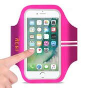 REIKO RUNNING SPORTS ARMBAND FOR IPHONE 7 PLUS/ 6S PLUS OR 5.5 INCHES DEVICE IN PINK (5.5x5.5 INCHES)