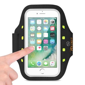 REIKO RUNNING SPORTS ARMBAND FOR IPHONE 7/ 6/ 6S OR 5 INCHES DEVICE WITH LED IN BLACK (5x5 INCHES)