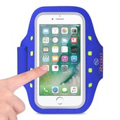 REIKO RUNNING SPORTS ARMBAND FOR IPHONE 7/ 6/ 6S OR 5 INCHES DEVICE WITH LED IN BLUE (5x5 INCHES)