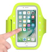 REIKO RUNNING SPORTS ARMBAND FOR IPHONE 7/ 6/ 6S OR 5 INCHES DEVICE WITH LED IN GREEN (5x5 INCHES)
