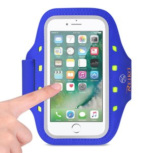 REIKO RUNNING SPORTS ARMBAND FOR IPHONE 7 PLUS/ 6S PLUS OR 5.5 INCHES DEVICE WITH LED IN BLUE (5.5x5.5 INCHES)