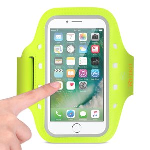 REIKO RUNNING SPORTS ARMBAND FOR IPHONE 7 PLUS/ 6S PLUS OR 5.5 INCHES DEVICE WITH LED IN GREEN (5.5x5.5 INCHES)