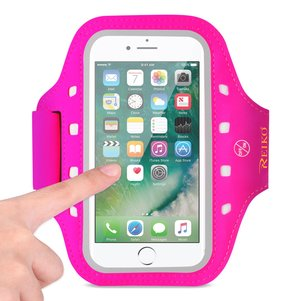 REIKO RUNNING SPORTS ARMBAND FOR IPHONE 7 PLUS/ 6S PLUS OR 5.5 INCHES DEVICE WITH LED IN PINK (5.5x5.5 INCHES)