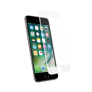 REIKO IPHONE 7 3D CURVED FULL COVERAGE TEMPERED GLASS SCREEN PROTECTOR IN WHITE