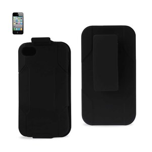 REIKO IPHONE 4G HYBRID HEAVY DUTY HOLSTER COMBO KICKSTAND CASE IN BLACK