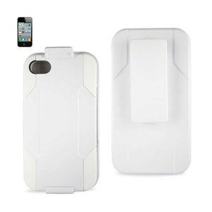 REIKO IPHONE 4G HYBRID HEAVY DUTY HOLSTER COMBO KICKSTAND CASE IN WHITE