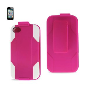 REIKO IPHONE 4G HYBRID HEAVY DUTY HOLSTER COMBO KICKSTAND CASE IN WHITE HOT PINK