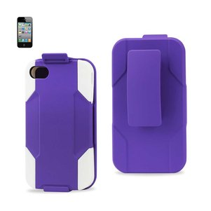 REIKO IPHONE 4/ 4G HYBRID HEAVY DUTY HOLSTER COMBO CASE IN WHITE PURPLE