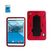 REIKO ALCATEL ONE TOUCH POP 7 HEAVY DUTY HYBRID NON SLIP CASE WITH KICKSTAND IN BLACK RED