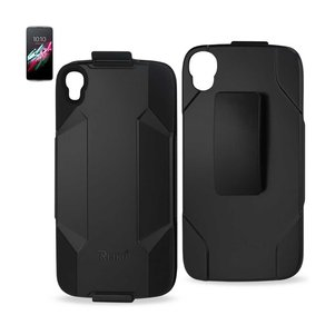 REIKO ALCATEL ONE TOUCH IDOL 3 3-IN-1 HYBRID HEAVY DUTY HOLSTER COMBO CASE IN BLACK