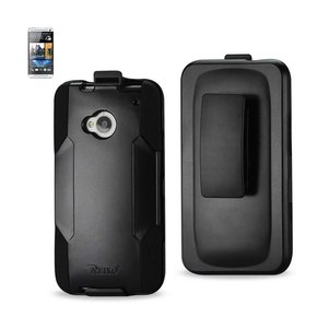 REIKO HTC ONE M7 HYBRID HEAVY DUTY HOLSTER COMBO CASE IN BLACK