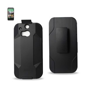REIKO HTC ONE M8 HYBRID HEAVY DUTY HOLSTER COMBO CASE IN BLACK