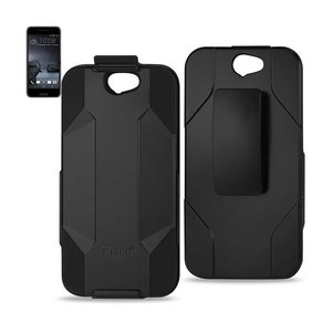 REIKO HTC ONE A9 HYBRID HEAVY DUTY HOLSTER COMBO CASE IN BLACK
