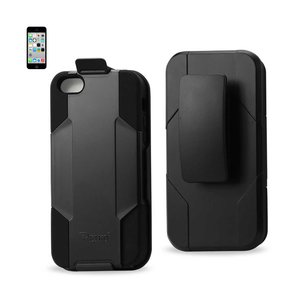 REIKO IPHONE 5C 3-IN-1 HYBRID HEAVY DUTY HOLSTER COMBO CASE IN BLACK