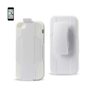 REIKO IPHONE 5C 3-IN-1 HYBRID HEAVY DUTY HOLSTER COMBO CASE IN WHITE