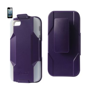 REIKO IPHONE 5/5S/SE 3-IN-1 HYBRID HEAVY DUTY HOLSTER COMBO CASE IN PURPLE CLEAR