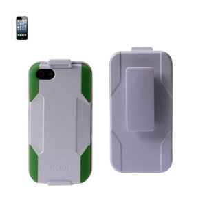 REIKO IPHONE 5/5S/SE 3-IN-1 HYBRID HEAVY DUTY HOLSTER COMBO CASE IN WHITE GREY