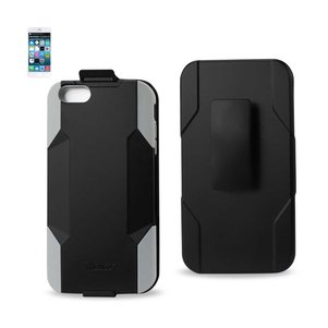REIKO IPHONE 6 PLUS 3-IN-1 HYBRID HEAVY DUTY HOLSTER COMBO CASE IN GRAY BLACK