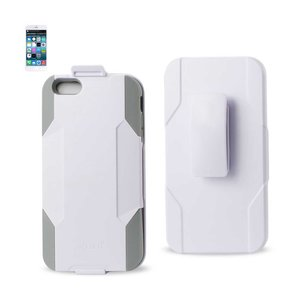 REIKO IPHONE 6 PLUS 3-IN-1 HYBRID HEAVY DUTY HOLSTER COMBO CASE IN GRAY WHITE
