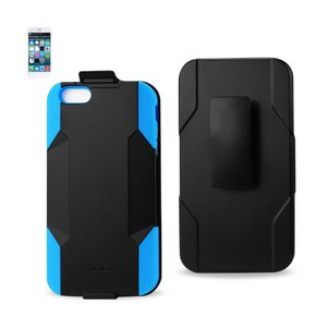 REIKO IPHONE 6 PLUS 3-IN-1 HYBRID HEAVY DUTY HOLSTER COMBO CASE IN NAVY BLACK