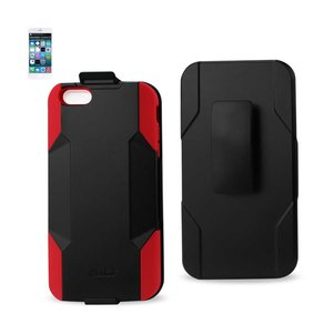 REIKO IPHONE 6 PLUS 3-IN-1 HYBRID HEAVY DUTY HOLSTER COMBO CASE IN RED BLACK