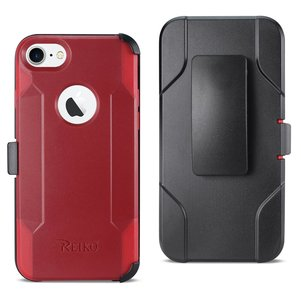 Reiko iPhone 7/8/SE2 3-In-1 Hybrid Heavy Duty Holster Combo Case In Burgundy