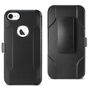 Reiko iPhone 7/8/SE2 3-In-1 Hybrid Heavy Duty Holster Combo Case In Black