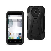 REIKO ALCATEL DAWN/ STREAK HYBRID HEAVY DUTY CASE WITH KICKSTAND IN BLACK