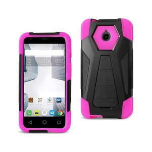 REIKO ALCATEL DAWN/ STREAK HYBRID HEAVY DUTY CASE WITH KICKSTAND IN HOT PINK BLACK