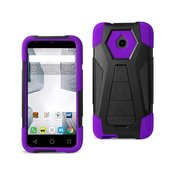 REIKO ALCATEL DAWN/ STREAK HYBRID HEAVY DUTY CASE WITH KICKSTAND IN PURPLE BLACK