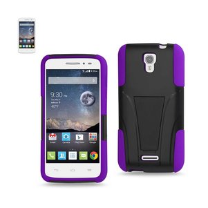 REIKO ALCATEL ONE TOUCH POP ASTRO HYBRID HEAVY DUTY CASE WITH KICKSTAND IN PURPLE BLACK