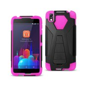 REIKO ALCATEL IDOL 4 HYBRID HEAVY DUTY CASE WITH KICKSTAND IN HOT PINK BLACK
