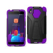 REIKO ALCATEL IDOL 4 HYBRID HEAVY DUTY CASE WITH KICKSTAND IN PURPLE BLACK