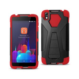 REIKO ALCATEL IDOL 4 HYBRID HEAVY DUTY CASE WITH KICKSTAND IN RED BLACK