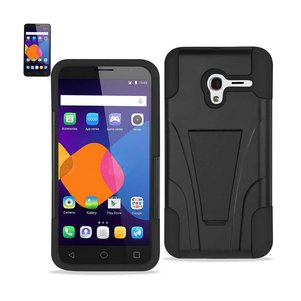REIKO ALCATEL ONETOUCH PIXI 3 HYBRID HEAVY DUTY CASE WITH KICKSTAND IN BLACK