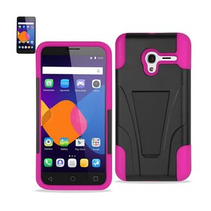 REIKO ALCATEL ONETOUCH PIXI 3 HYBRID HEAVY DUTY CASE WITH KICKSTAND IN HOT PINK BLACK