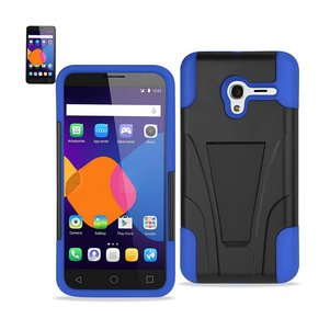 REIKO ALCATEL ONETOUCH PIXI 3 HYBRID HEAVY DUTY CASE WITH KICKSTAND IN NAVY BLACK